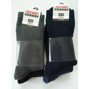 Warme sokken voor kinderen van Teckel per 2 paar, katoen vol badstof gebreid, zonder teennaad.