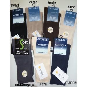 Apollo dunne sokken zonder elastiek, met soepele boord, tegen bloedvat vernauwing van modal/katoen