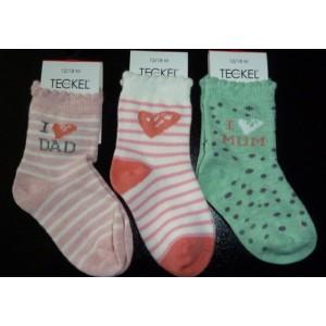 Baby sokjes met i love mum en i love dad en hartjes