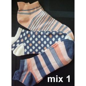 Apollo sneaker sokjes voor dames per drie paar met leuke prints