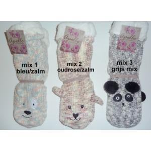 Apollo dames huissokken/sloffen met dierenkoppen bovenop de voet en met antislip nopjes onder de slof