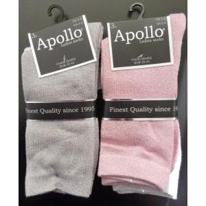 Apollo dames glitter sokken per drie paar