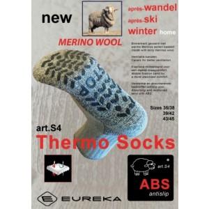 Merino wollen huissok met antislip. Nooit meer koude voeten!! (dit is de dikke uitvoering)